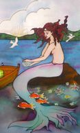 Auburn haired Mermaid,sitting on a rock. Painting on Silk
