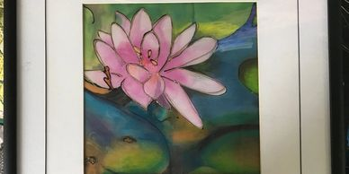 Lotus Lilly  - Silk Painting and Mixed Media.  Nice for a Healing Practice.