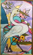 Silk painting under mixed Media. White Heron. Tampa