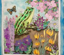 Silk Painting  -  Northern Leopard  Frog - Michigan Butterfly - Michigan Frog