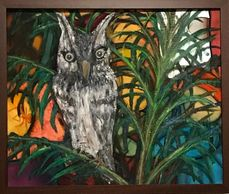 Silk Painting under Mixed Media. Screech Owl in Areca Palm.