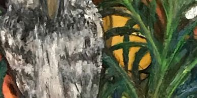 Silk Painting of Screech Owl in Areca Palm tampa