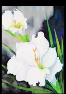 White Gladiola - Painting on Silk
