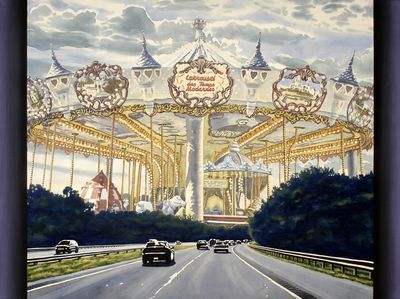 "French Carousel Over Mass Pike, watercolor on paper on canvas, 58"" x 76"""