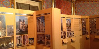 Cardboard exhibition walls printed, architecture history exhibition.