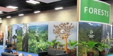 World Conservation Congress Hawaii, printed cardboard pavilion walls, reusable.