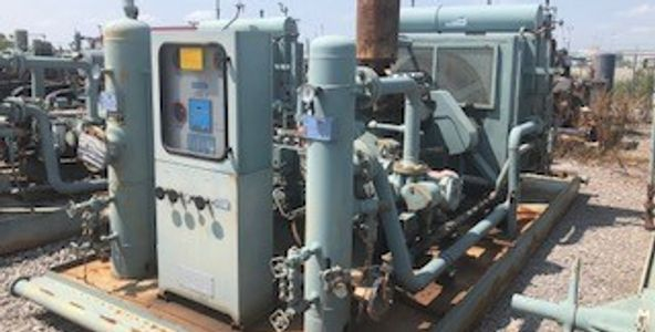 Caterpillar G3304NA/ Ariel JGP-2 2 stage natural gas compressor package for sale.