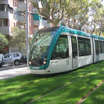 Barcelona tram on grass
