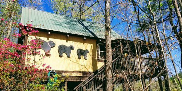 RIVERVIEW CABIN at Bear Creek Lodge and Cabins in Helen Ga Hot Tub 1 King/ 1 Queen & Twin Sleeps 5