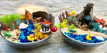 Safari habitat and craft kit for kids to spark creativity and less screen time. Boys craft activity