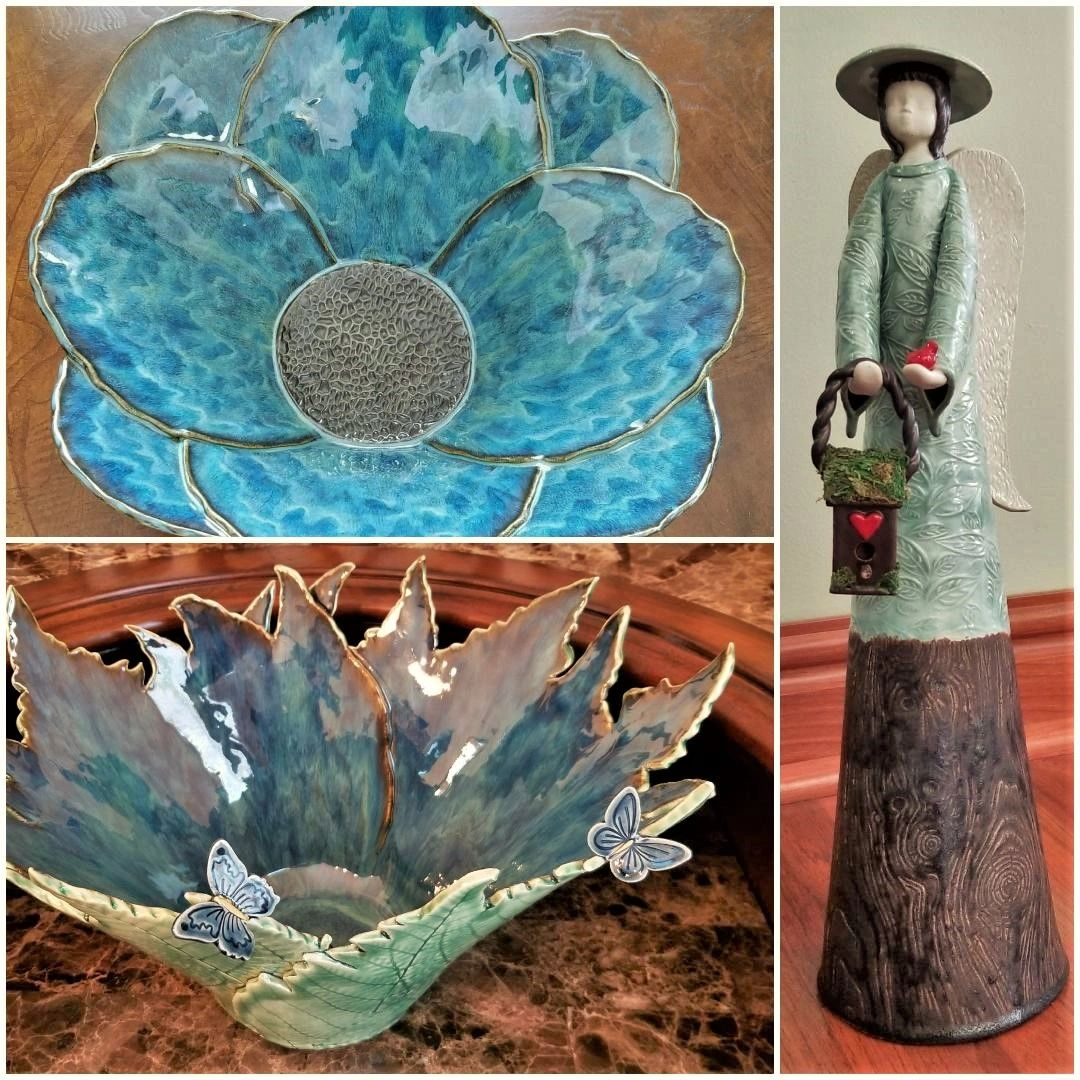 Precious Petals Bowl, Fern Vessel and Garden Angel handcrafted by Lisa Dempsey of Lisa D Pottery