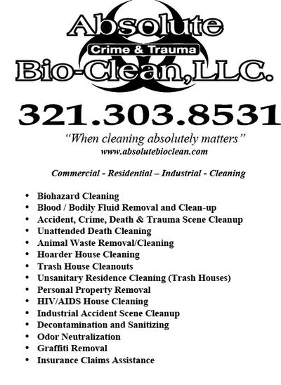 Biohazard Services we provide for the State of Florida.