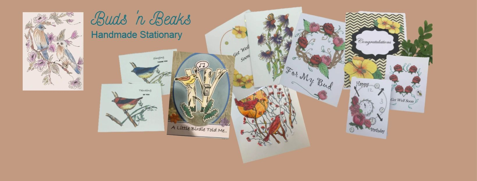 Buds 'n Beaks Handmade Stationary | Greeting Cards | Note Cards | Hand Drawn Ink and Watercolor