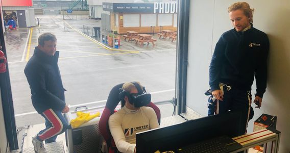 United Autosports race drivers training in the simulator