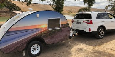 Most cars can tow this little teardrop caravan. For both experienced and inexperienced in towing a cravan