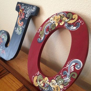 Custom Rosemaled Wood Letters are a great gift for any Scandinavian friend!