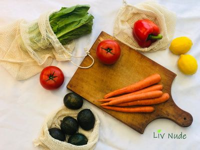 Natural organic reusable produce bags