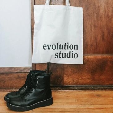 evolution studio reuseable tote bag organic cotton white black recycle reduce merch buy now shop
