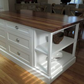 White Satin finsih  2 Pac Island Bench with Timber TOP