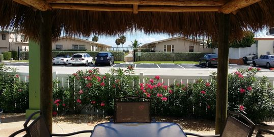 Across the street from the Beach, Tiki Hut View