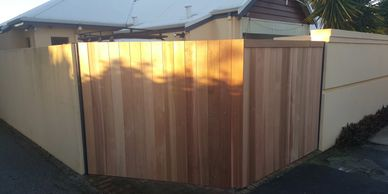 Western Red Cedar Gate by WA Painters Perth with Quality Painting and Service. Western Red Cedar