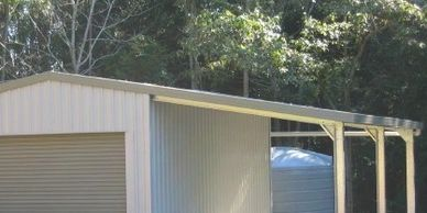 "alt=""Single garage or garden shed with awning"""