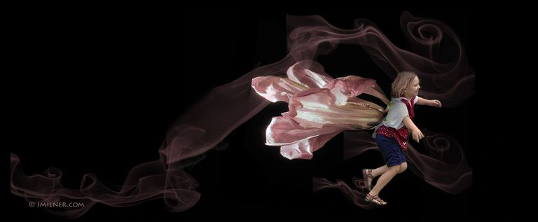 YOLO... composite image of child, tulip, and digital paint showing the carefree energy of a child.