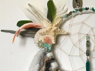 Dream Catcher, feathers, beads, sea star, yarn,