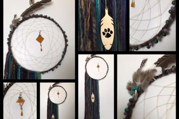 Dream Catcher, ring, beads, feathers