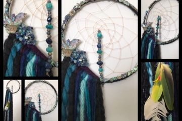 Dream Catcher, feathers, beads, stones, abalone, yarn, web
