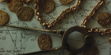 Bradley Williamson Image of Gold Coins and Chain from Expeditions and Explorations around the globe.