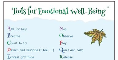Tools for Emotional Well-Being Chart from Animals Get Emotional