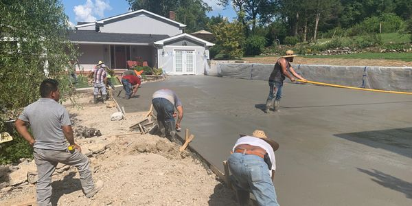 concrete pad construction by hardscape contractors