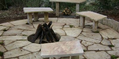 outdoor fire pit made with paver stones
