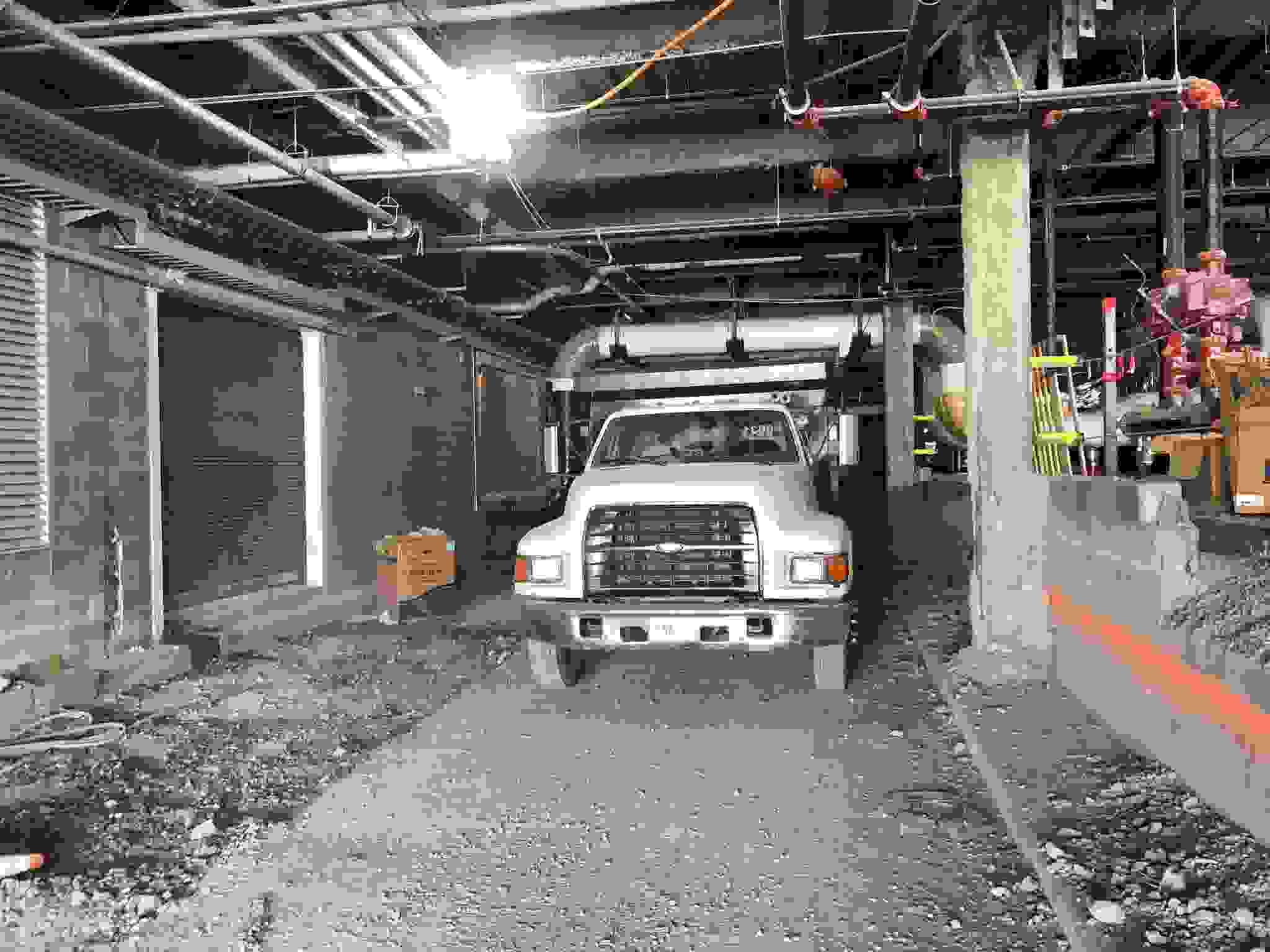 Commercial truck onsite for underground utility services