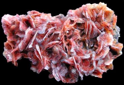 Barite with included Realgar - Shaft #5, Baia Sprie, Romania