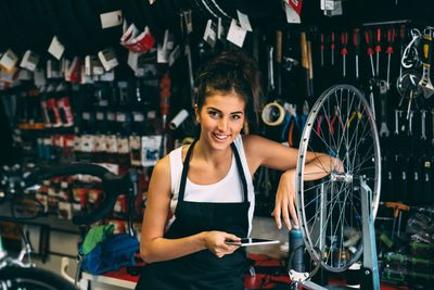 Not all bike mechanic are men. Female bike mechanic