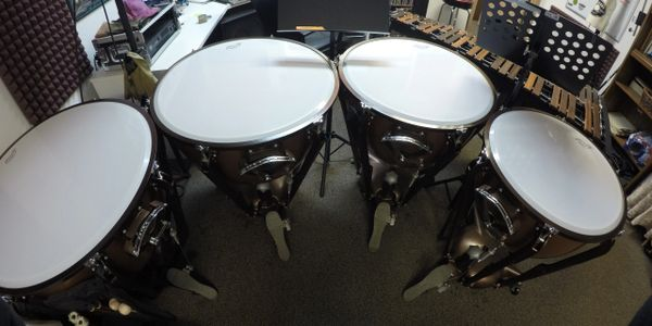 Ludwig fiberglass timpani with tuning gauges.  Sizes 32, 29, 26, and 23.
