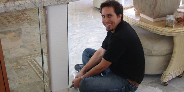 Alex Crespin - Owner of AZ Unique cabinets and millworks hard at work. Custom kitchen cabinets install.