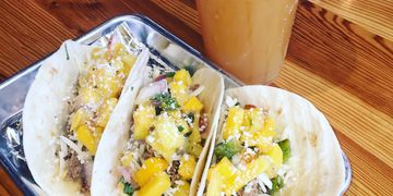 Mango Salsa with braised chicken tacos.  Event Catering