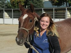 Bonnie Crisci providing patient care to a horse at Idaho Equine Hospital
