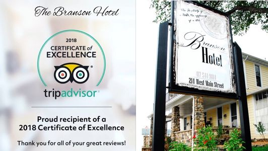 The Branson Hotel earns a Certificate of Excellence from Trip Advisor