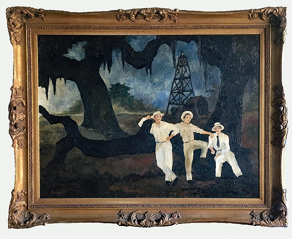 George Rodrigue, The LeBlanc Brothers, 1976.  Cajuns strike oil in Texas.