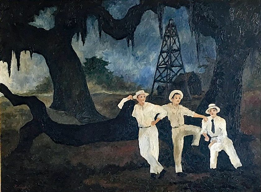 George Rodrique, The LeBlanc Brothers 1976 Oil on canvas Cajun brothers strike oil in Texas