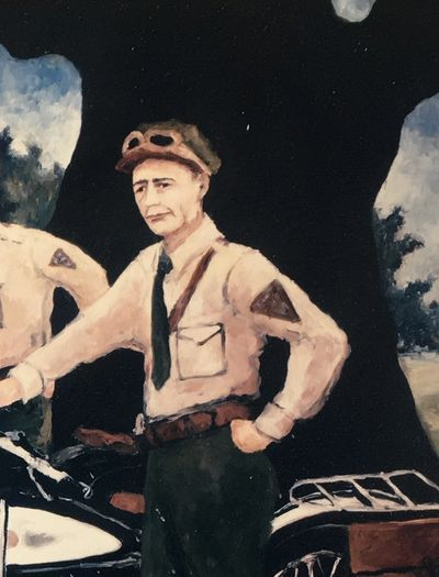 "Sgt. Gerald Defez, head of the ""Cajun Highway Police,"" protecting Huey Long.  Painted by Rodrigue."