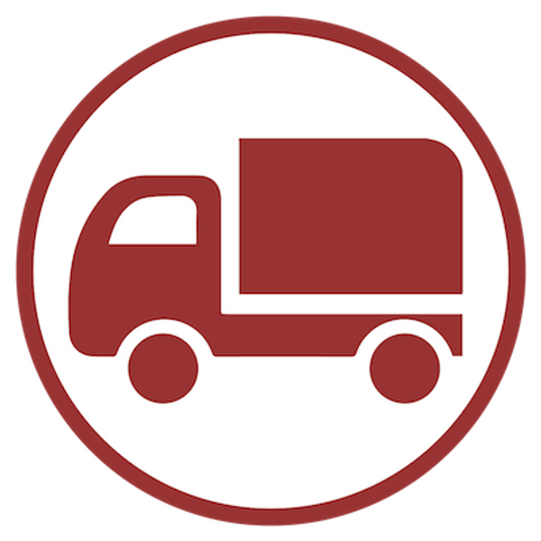 Shipping truck silhouette in maroon