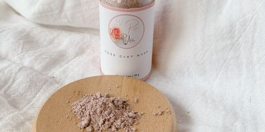 Dry Rose Clay Mask in Clear Glass Bottle