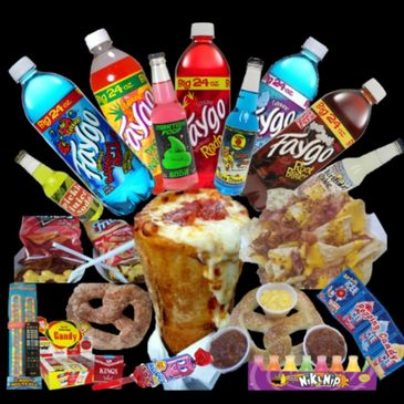 Rockin Burgers N Dogs Pizza Cones jumbo soft pretzels, Faygo, Nachos, Novelties, Wyoming Food Truck