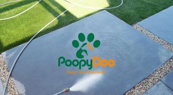 Patio Hose Spray Down Services, Grass, Cement Slab, concrete pad, water