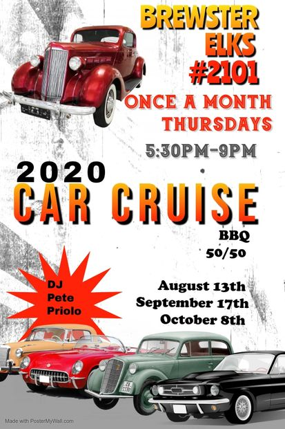 Thursday Night LAST 2020 Car Cruise  October 8th   5:30PM-9:00PM  Burgers & Hot Dogs 50/50  &  DJ